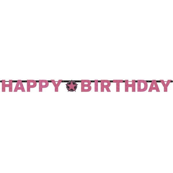 Banner Happy Birthday růžová   1 ks (1)