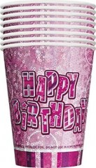 Kelímky Birthday Pink 266ml, 8ks